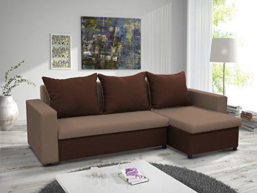 kleines Ecksofa Sofa Eckcouch Couch mit Schlaffunktion und zwei Bettkasten Ottomane L-Form Schlafsofa Bettsofa Polstergarnitur LARS (Cappucino + Braun,...