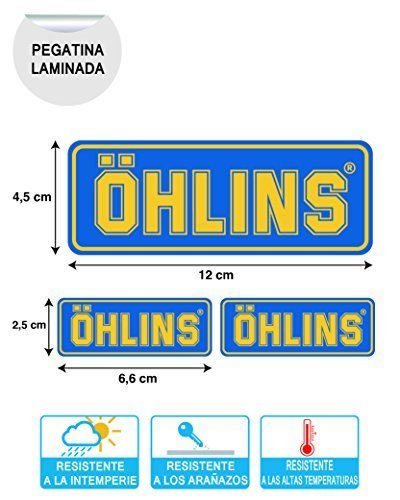 X 3 PEGATINA STICKER ADESIVO AUFKLEBER DECALS AUTOCOLLANTS OHLINS SUSPENSION MOTO LAMINADO...
