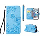 MUTOUREN Samsung Galaxy A310 (2016) Wallet Case with Bling Diamond Flower Butterfly Garden Pattern Premium PU Leather Cover Bookstyle Soft TPU Magnetic Snap Anti-scratch Shockproof Bumper Shell, Blue
