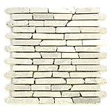 Divero 11 Fliesenmatten Naturstein Stäbchen Mosaik aus Marmor für Wand und Boden creme á 29 x 32 cm