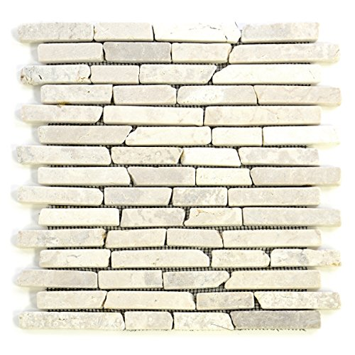 Getrommelt Marmor Mosaik 1x1 (DIVERO 11 Matten 30 x 30cm Marmor Naturstein-Mosaik Stäbchen-Mosaik Fliesen für Wand Boden creme)