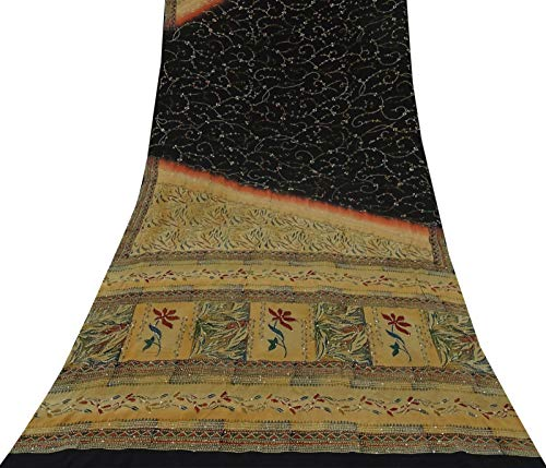 Indian Vintage-Saree Crepe Seide Blatt gedruckt Gebrauchte Craft Sari Antike Stoff Crepe Saree