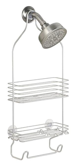 interdesign classico dusch caddy zum hngen dezente duschablage mit 2 krben und haken badregal fr dusche und badewanne metall wei amazonde kche - Duschzubehor Zum Hangen