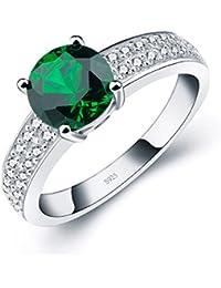 ANGG Clásico Mujer Verde Creado Esmeralda Plata esterlina 925 Anillo de bodas