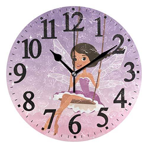 Uosliks Runde Wanduhr süßes Mädchen auf Schaukel Home Art Decor Non-Ticking Ziffer Uhr für Home Office