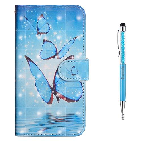 Grandoin Nokia 3 Hülle, Handyhülle im Brieftasche-Stil für Nokia 3 Handytasche PU Leder Flip Cover 3D Bunte Muster Book Case Schutzhülle mit [Magnetverschluss] Etui Case (Blauer Schmetterling)