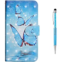 Grandoin Galaxy J3 2017 Case, Premium PU Leather Magnetic Flip Cover with Card Slots Holders [Soft Silicone Inner] Bookstyle Wallet Case For Samsung Galaxy J3 2017 (Blue Butterfly)