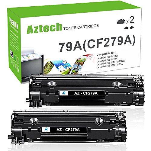 Aztech 2 Pack compatibles CF279A Cartuchos de Tóner 1000 Páginas para HP LaserJet Pro MFP M26nw M26a, HP LaserJet Pro M12w M12a