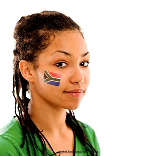 100 x Südafrika Tattoo Fan Fahnen Set - South Africa temporary tattoo Flag (100)