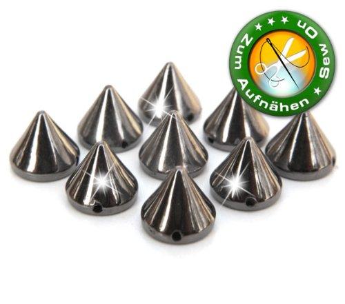 100 Stück Killernieten/Punkspikes, 6 mm hoch, Hematite (Grau), zum Aufnähen / Aufkleben