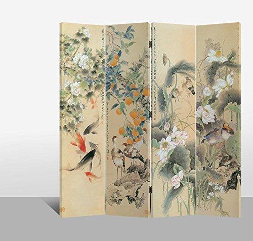 Fine Asianliving – Paravent - Raumteiler – Sichtschutz - Trennwand –Faltbar - Spanische Wand – Leinwand - Artprint – Canvas – Doppelseitig – Bedruckte Leinwand - 4 Fach (180 x 160 cm) - 118