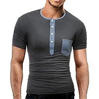 Tshirt Herren,Männer Sommer Mode Oansatz Pullover Kurzarmshirt Casual Basic O-Neck Kurzarm T Shirt