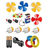 vyga DC Motor with Propeller/Fan/ 9 V Battery/Snap Connector +2 AA Battery with Holder/3m Wire/10 LED/ 2 Mini Rocker Switch (Red, Green, Yellow)