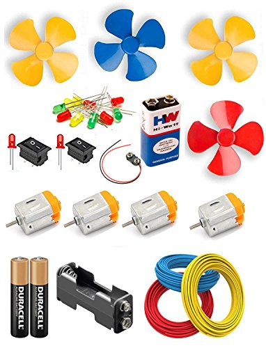 dc motor with propeller/dc motor with fan/ 4 dc motor with 4 small propeller + Battery(9Volt) With Snap(Connector) +2 aa battery with battery holder/3 meter wire/10 pcs led red green yellow/2 mini rocker switch