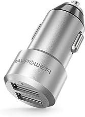 Auto Ladegerät RAVPower 2-Port 24W 5V/4.8A Mini Auto Ladeadapter mit Aluminium-Legierung Gehäuse iSmart Technologie für iPhone X XS XR XS Max 8 7 6 Plus, iPad Pro Air Mini, Galaxy S9 S8 Plus, LG, Huawei, HTC usw. Silber