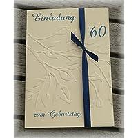 Einladung Einladungskarte Blätter geprägt runder Geburtstag 40 50 60 70 80 90 personalisierbar blau dunkelblau