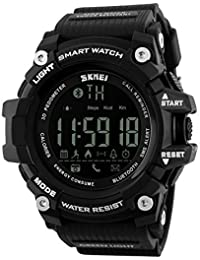 SKMEI 1227 Bluetooth Digital Smart Watch Black Colour With Health Fitness and Sport Activity Tracker Compatible with IOS, Android, Apple iphone 7, 3G, 4G Smart Phones, All Mobiles