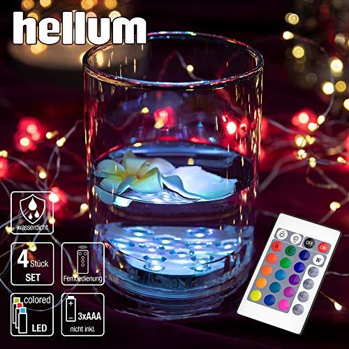 Hellum LED Licht unterwasser Beleuchtung für Pool, Aquarium, Teich oder Garten, RGB mit Farbwechsel durch Fernbedienung, Batterie-Betrieb, 4er-Pack, 522945