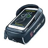 WHEEL UP Fahrradtasche,Fahrrad Rahmentasche Rennrad Handy Oberrohr Wasserdicht Sensitive Touch-Screen für iPhone X、6 、6s 、6 Plus、7、7 Plus、8、8 Plus/Samsung s7 edge andere bis zu 6.2 Zoll Smartphone ( Schwarz )