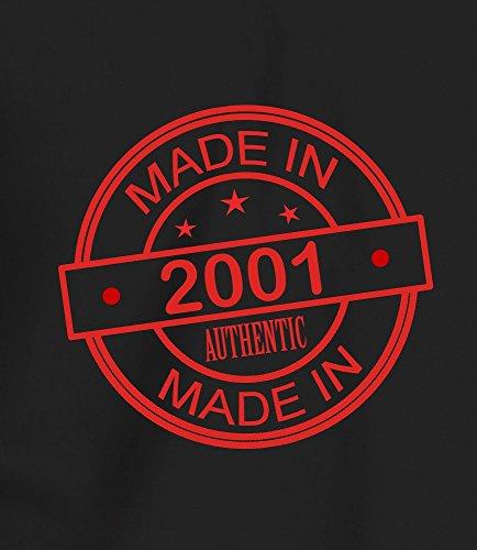 "Geschenk T Shirt zum 16. Geburtstag, Herren: ""Made In 2001"" Schwartz"