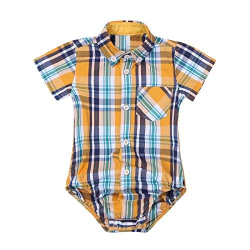 850e1a12371db YiZYiF Bébé Garçon Body Carreaux Chemise à Manche Court Combinaison de  Baptême Costume Mariage Coton Barboteuse