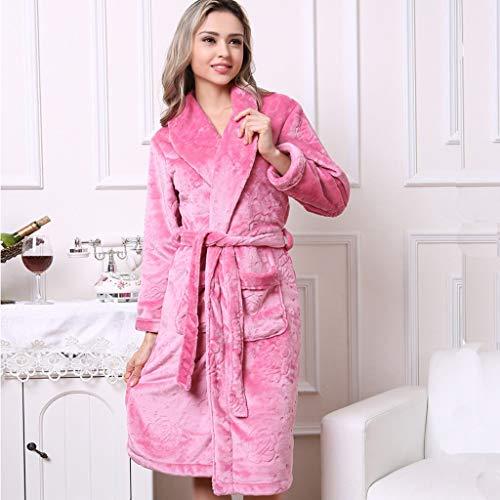 Damen Bademantel Coral Fleece, Plus-Samtverdickung Super Soft Komfortable Spa Robe Lounge Haus Leichte Robe for Frauen (Color : Pink, Size : XL)