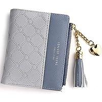 Wallet for Women Leather Short Wallet Bifold, RFID Blocking Wallet Credit Card Holder Organizer with Zipper Pocket Mini Lady Purse (Grey)
