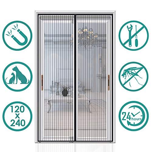 Auxmir zanzariera magnetica 120 x 240cm, tenda zanzariera porta ingresso cortile, anti insetti traspirante chiusura automatica con 32 magneti rete
