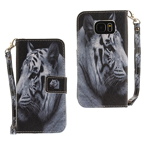 StarryON Samsung Galaxy S7 EDGE Hülle, PU Leder Book Style Flip Ständer Cover Fashional Tier Design Ganzkörper-Schutz mit Double Magnet Funktion Drop Schutz Handtasche Stil Samsung S7 EDGE(Weißer Tiger)