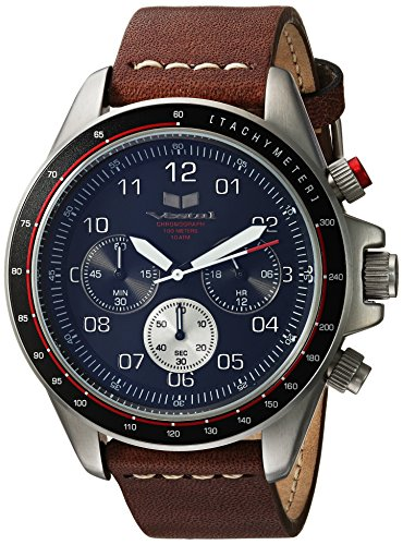 Vestal 'ZR2' Quartz Stainless Steel and Leather Casual Watch, Color:Brown (Model: ZR243L20.BRWH)