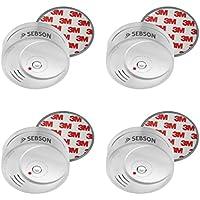SEBSON 4x Detector de Humo NF incluye Soporte Magnético, Batería de Litio de Larga Duración 10 Años, DIN EN 14604, Detectores fotoeléctricos de Humo, GS506