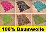 Handwebteppich Fleckerlteppich gestreift 100% Baumwolle Handweb Teppich Fleckerl Waschbar NEU (Schoko gestreift, ca. 120x180 cm)