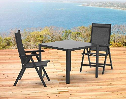 Kettler Basel Gartenmöbel 1 Tisch 95x95 cm und 2 Klappsessel in anthrazit