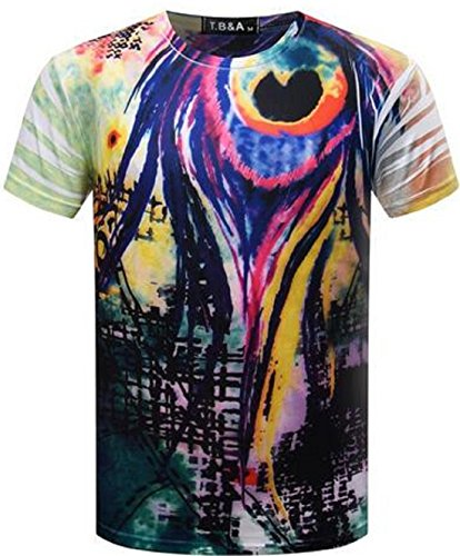Men's 3D Fashion Computer Printed Short Sleeve O Neck Tee Shirt color 6