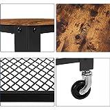 VASAGLE Servierwagen im Industrie-Design, Küchenwagen, Rollwagen, Küchenregal, aus Holz und Metall, auf 4 Rollen, 3 Ebenen für Küche und Wohnzimmer, Vintage LRC78X - 10