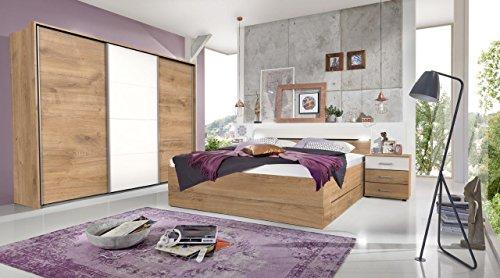 lifestyle4living Schlafzimmer Komplett Set in Eiche-Dekor und weiß, 4-teilig | Modernes Komplettset mit Schwebetürenschrank, Bett und Nachtkommoden (Jugend-möbel Schlafzimmer-sets)