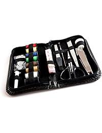 Lantelme - Kit de costura consistente en viajes de 22 partes: hilo, agujas, enhebrador de agujas, tijeras, botones, cinta métrica, tijeras, pinzas. costurero de viaje en el arte de la funda de cuero