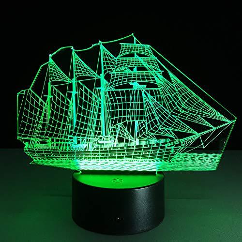 PDDXBB Segelboot-3D Illusion Optische Neuheit Tischlampe Schöne Meer Boot Form Nachtlicht Sechzehn Farbe 22 *   13 * 9 cm (Riss Basis Fernbedienung) (Boot-tisch Base)