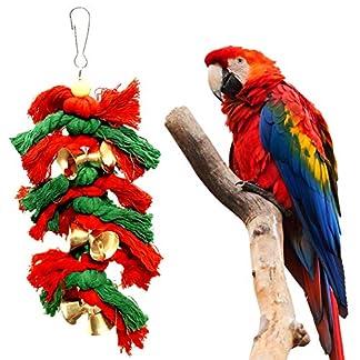 BOENZN Christmas Pet Bird Parrot Parakeet Bells Cotton Rope Knot Parrot Toys 51A39 bIbiL