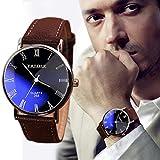 saihui Mode Luxus Kunstleder Herren Quarz Analog Uhr Uhren Quarzuhr für Männer und Frauen Neutrales Einfaches Retro Großes Leder Zifferblatt