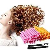 OMart 50CM DIY Manual Hair Curler Magic Spiral Ringlets Stretched Circle Roller 40 Packs (pink&orange)