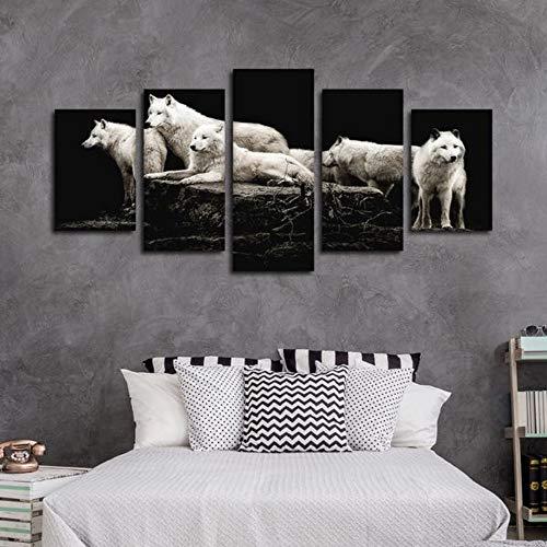 5 Stück HD Gedruckt Leinwanddrucke Hungrig wie die Wölfe Multi Panel Leinwand Wandkunst Panels Bilder Leinwand Bilder Poster Dekoration Geschenk -