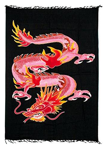 45 Modelle Sarong Pareo Wickelrock Strandtuch Tuch Wickeltuch Handtuch + Gratis Schnalle Schließe (Dragon Rot Bunt D3)