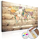 Weltkarte Pinnwand 90x60 cm Leinwand   Bilder Leinwandbilder - Fertig aufgespannt auf dicker 10mm Holzfasertafel! Aufhängfertig! Auch als Korktafel nutzbar! PWB0031a1S