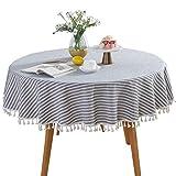 Mantel redondo de estilo nórdico, a rayas, con borlas, de algodón y lino, a prueba de polvo, para decoración de mesa de cocina o mesa de comedor, azul, Tamaño libre