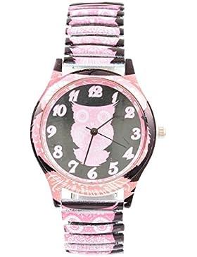 Souarts Damen Federkraft Quartzuhr Eule Analog Armreif Uhr mit Batterie Rosa