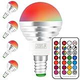 Bombilla Colores E14, Bombilla RGBW con mando a distancia,3W Equivalente a 30W Halógena, blanco diurno 6000K, casquillo E14,bombilla colores regulable,RGB 12 Color,Paquete de 4 Unidades