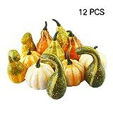12 calabazas decorativas de Ideapark, decoración de Halloween, calabazas artificiales