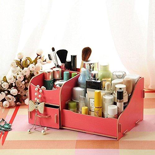 Mjhwsx stoccaggio cosmetici box Multifunzione in legno grande capacità di