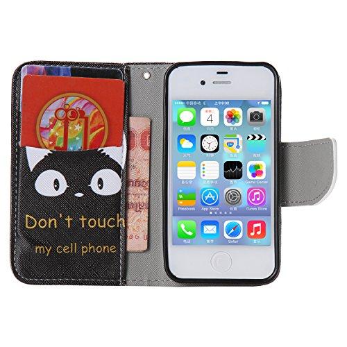 SpiritSun PU Leder Wallet Stil Schutzhülle für Apple iPhone 5 5S Hülle Flip Case Klapp Etui Standfunktion Cover und Magnet Verschluss Abdeckung Stoßfeste Handy Tasche Kredit Kartenfächer mit Stylus Pe Monster Auge